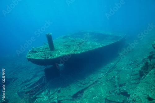 Fotografia  Underwater a shipwreck on the seabed in the Mediterranean sea ( 1968, the ship M