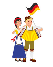 Bavarian Man And Woman With Ac...