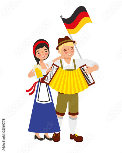 bavarian man and woman with accordion flag and beer Canvas Print