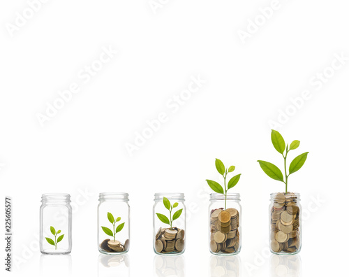 Photo  Coins in a bottle, Represents the financial growth