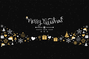 Obraz na Plexi Christmas background with element icons banner, snowflakes. Vector illustration