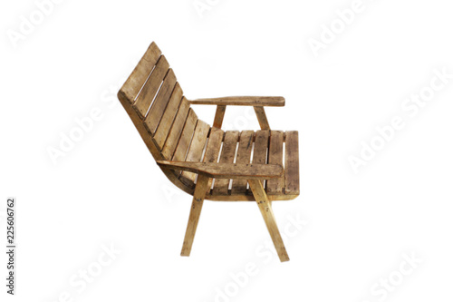 Leinwand Poster dirty old wooden chair isolated on white background
