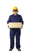 portrait of a worker in Mechanic Jumpsuit Was carrying a box isolated on white background