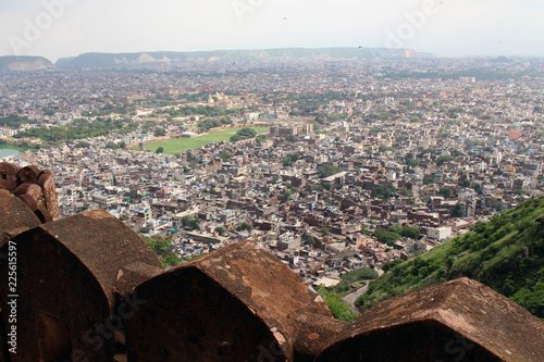 The stone railing and scenery of Jaipur city, seen from Nahargarh Fort on the hill