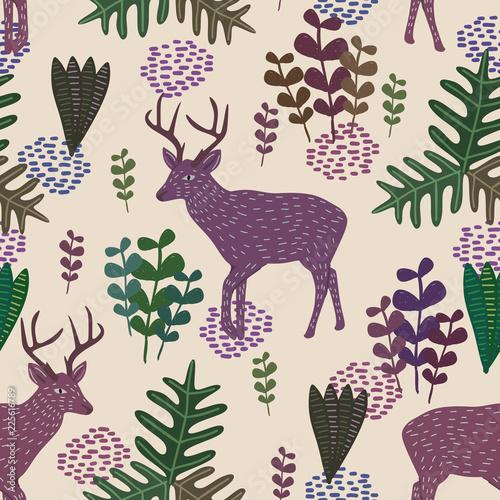 modny-przyrody-wektor-wzor-z-recznie-rysowane-dziecinna-styl-jelenia-i