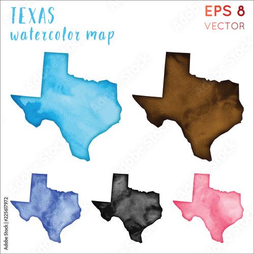 Mapa stanu Teksas akwarela USA. Ręcznie malowane akwarela zestaw map Texas. Ilustracji wektorowych.