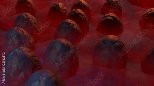 Montage in der Fensternische Braun Alien eggs in mist. 3d render