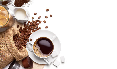 Cup of hot coffee and other ingredients over white background
