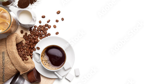 Fototapeta Cup of hot coffee and other ingredients over white background obraz