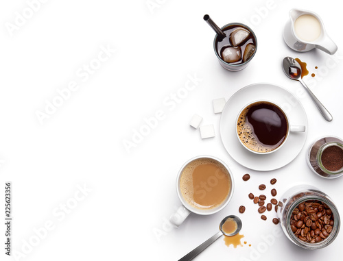 Different types of coffee and ingredients