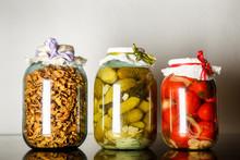 Three Big  Glass Jars With Hom...