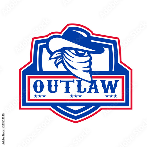 Photo Outlaw Cowboy Mascot Shield
