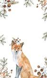 fox/Watercolor illustration, hand drawn.  - 225628781