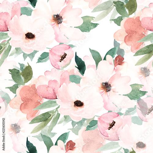 Akwarela bezszwowe wzór. Wzór w kwiaty. Ręcznie rysowane akwarela ilustracja