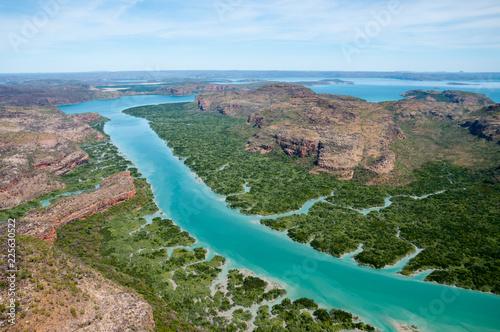 Poster Cote Aerial view of Porosis Creek, Prince Frederick Harbour, Kimberley coast, Australia