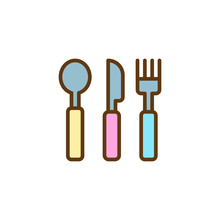 Baby Cutlery Filled Outline Ic...