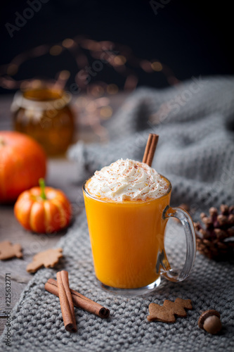 Pumpkin latte with spices. Boozy cocktail with whipped cream. Grey background. Copy space.