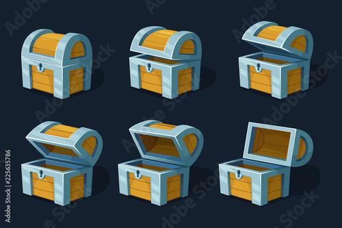 Obraz na plátně Various key frames animation of wooden chest or box