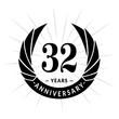 32 years anniversary. Elegant anniversary design. 32 years logo.