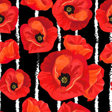 Red Poppies On A Striped Black And White Background.