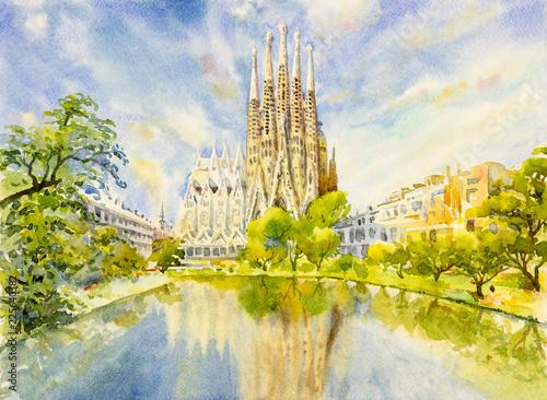 Photo  Barcelona at Spain, watercolor painting.