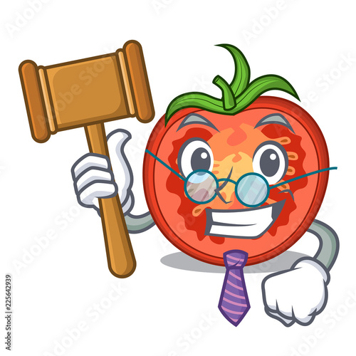 Foto  Judge red tomato slices isolated on mascot
