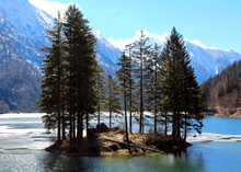 Little Island On The Lake Of Predil In Northern Italy