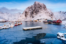 Winter Landscape Of Bay, Hamnoy, Moskenes, Lofoten Islands, Norway