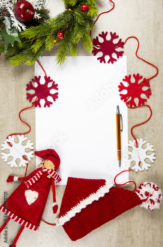 Flat Lay View Of Empty Sheet White Paper For Making Christmas Gifts Wish List Or Write A Letter To E Commercial Background