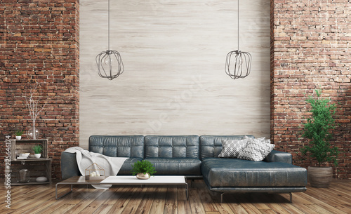 Obraz Modern interior of loft 3d rendering - fototapety do salonu