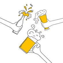 Three Hands Clinking Beer Mug,...