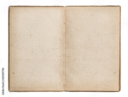 Open old book used paper isolated white background
