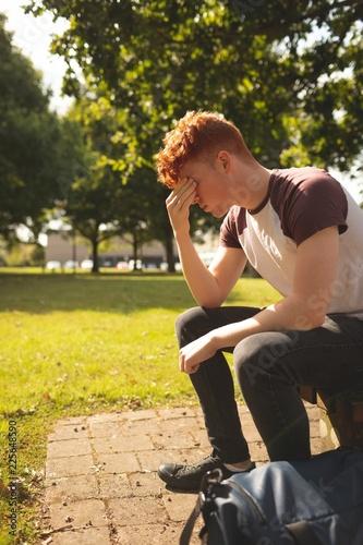 College student sitting in campus