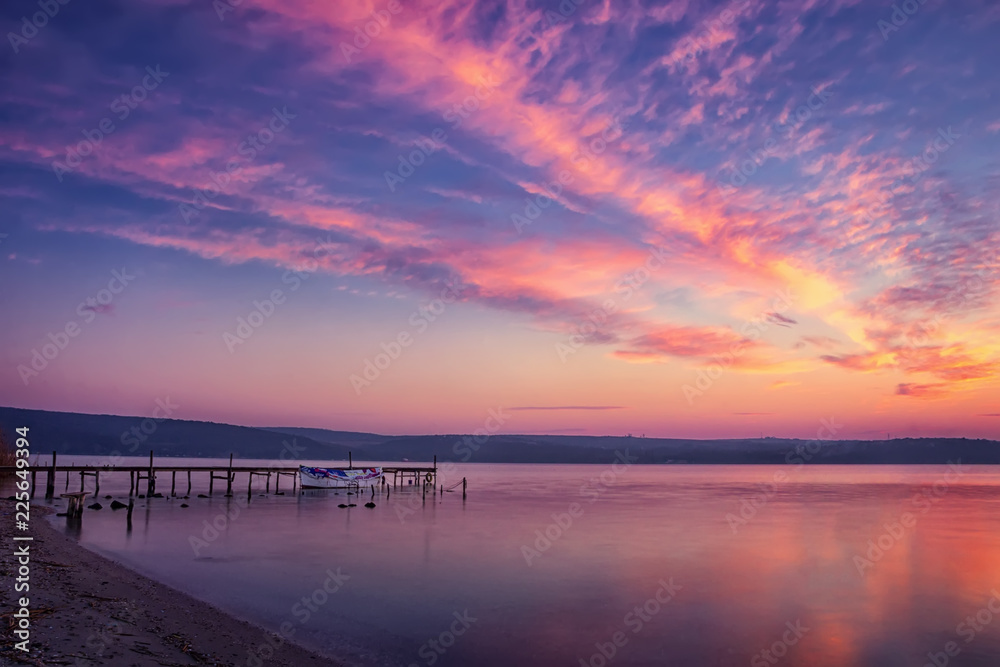 Fototapety, obrazy: beautiful and calm sunset/sunrise on a lake with pier and boat.