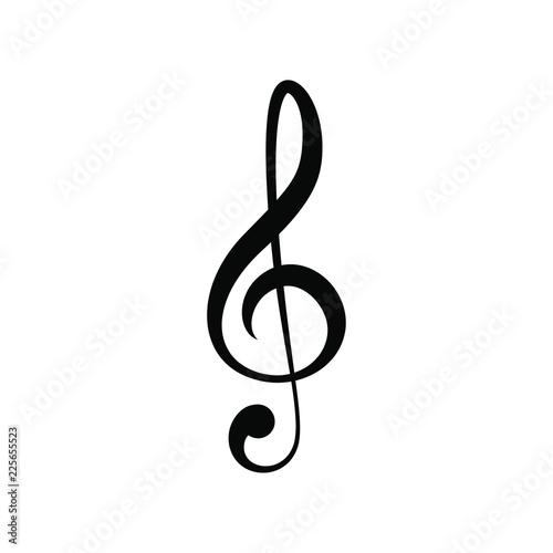Vector illustration of minimalistic flat black treble clef icon Fototapeta