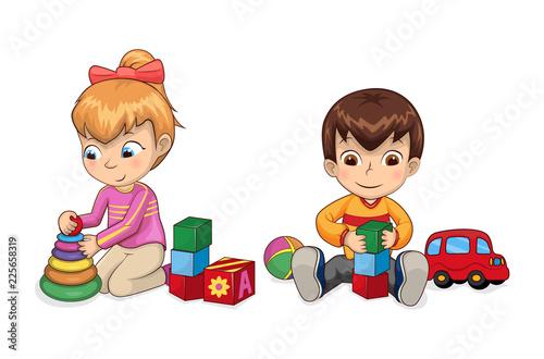 Fotografie, Obraz  Playful Children with Toys Vector Illustration