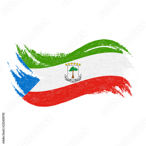National Flag Of Equatorial Guinea Designed Using Brush