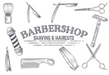 Hand Drawn Vector Barber Shop Banners With Sketch Engraving Illustration