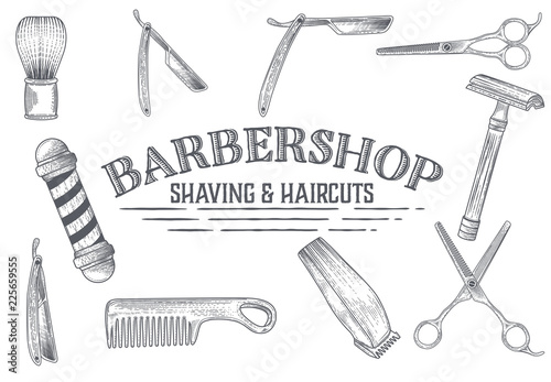 Foto Hand drawn vector barber shop banners with sketch engraving illustration