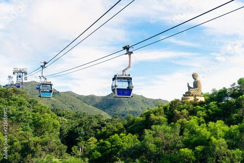 Poster Lieu connus d Asie Tian Tan Buddha statue at Ngong Ping, Lantau Island, in Hong Kong China and traveled by cable car.