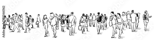 Obraz crowd group of people walking freehand ink sketch panorama view isolated on white background - fototapety do salonu