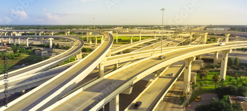 Panorama horizontal aerial view massive highway intersection, stack interchange blue sky in Houston, Texas, USA Wallpaper Mural