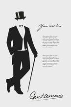 Silhouette Of A Gentleman In A Tuxedo.