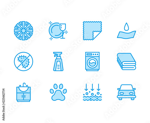 Microfiber cloth properties flat line icons Wallpaper Mural