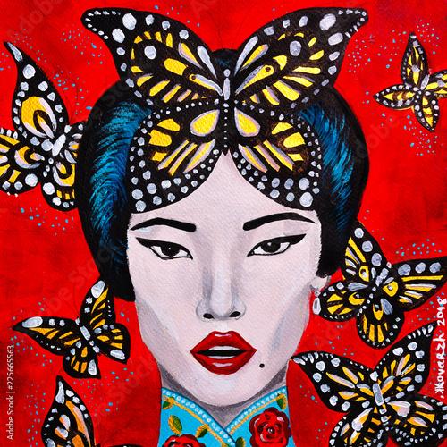 Fotografia  bello dipinto donna orientale bella e farfalle sfondo rosso