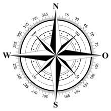 Kompass Rose Vektor Mit Der Deutscher Osten Bezeichnung Auf Einem Isolierten Weißen Hintergrund.