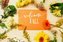 """Flat Lay With Various Wildflowers Around Orange Card With """"welcome Fall"""" Lettering On Beige Background"""