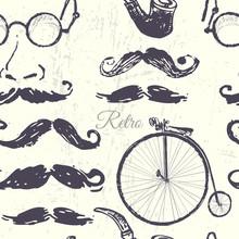 Ink Hand Drawn Retro Illustrations Seamless Pattern
