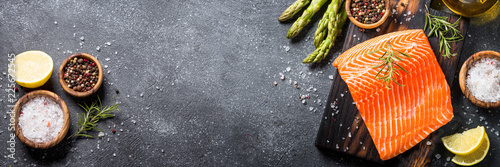 Salmon fillet with ingredients for cooking -  fresh vegetables a Fototapete