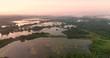 Survol de la vallée de la Somme près de Long au petit matin